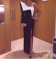 um ombro assimétrico vestido de noite venda por atacado-Moda Único Design Longos Vestidos de Noite Sexy Side Dividir Um Ombro Mangas Compridas Preto e Branco Assimétrico Festa Formal Vestidos de Baile