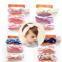 Wholesale Handmade Ribbon Headbands - New 3ps set handmade cotton rabbit flower headband girls hair accessories bowknots hairband for kids hair ornaments turban
