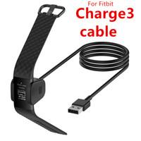 bracelete de carregamento usb venda por atacado-Para Fiitbit charge3 Carga 3 Carregador USB Cabo de Carregamento 1 M 3FT 55 CM Preto Inteligente pulseira relógio pulseira Accessorires