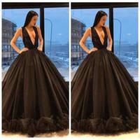 noite negra abaya venda por atacado-2018 Oriente Médio Dubai Abaya vestido de Baile Sexy Mergulhando V Neck Black Prom Vestidos Sem Mangas Ruffles Botão Saias Princesa Vestidos de Noite