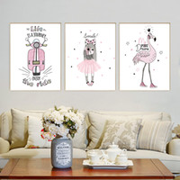 Wholesale House Picture Frames - Modern Cute Animal Family Canvas A4 Art Print Poster Flamingo Picture Baby Children's House Decoration Painting No Frame