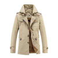 manteaux de fourrure de cachemire hommes achat en gros de-2018 New Winter New Men Casual Trench-Coat Épaississement Plus Cachemire Coton Chaud Manteau Hommes Add