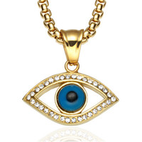 viel glück kristall halskette großhandel-Evil Eye Anhänger Halskette Edelstahl Intarsien Kristall Türkei Viel Glück Blue Eye Anhänger 60cm Kette