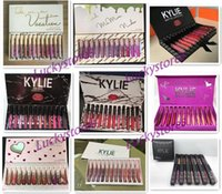Wholesale Pink Size 12 - Kylie Jenner lipgloss 12 colors Liquid Matte 12pcs lipstick Fall CollectionTake Me On Vacation birthday pink black box lip gloss