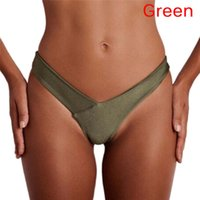 Wholesale brazilian bikini bottoms wholesale - Sexy Panty Women New Arrival 2018 Summer Bikini Thong Bottom Brazilian V Ruched Semi Swimwear Beachwear Hot Sale