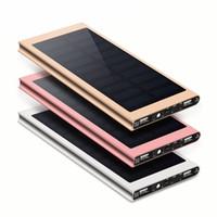 usb pil banka ücretli telefon toptan satış-20000 mah güneş enerjisi bankası harici pil hızlı şarj çift usb powerbank taşınabilir telefon şarj için iphone 8 x xiaomi 18650