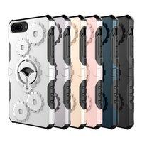 metall-handy-halter großhandel-Für iPhone 8 Plus Luxus 3in1 Telefon Ständer Halter Metall Gear Shockproof Telefon Fall Für iPhone 7 Plus 5,5 zoll handy Abdeckung