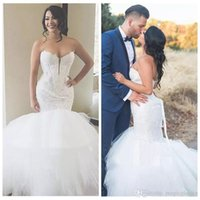 Wholesale Wedding Dresses Sweetheart Mermaid China - Sweetheart Lace Mermaid Wedding Dresses Slim Tulle Puffy Garden Bridal Gowns 2018 Plus Size Bridal Gowns Custom From China