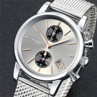 buenos relojes deportivos al por mayor-40 MM Moda mujer Relojes Suizos Hombres Cronógrafo Reloj de Cuarzo Deporte Fecha Relojes de pulsera de alta calidad diseño superior Niza reloj Acero inoxidable stee