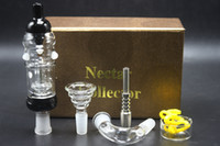 Wholesale Full Bowl - Factory Price Golden Gift Box Nectar Collector Plus Full Kit 14mm With Titanium Glass Nail Bowl Adaptor Honey Dab Straw Glass Water Bongs