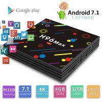 max ac großhandel-Android 7.1 Smart TV-Box H96 Max. Neue Rockchip RK3328 TV-Box 4 GB DDR3 32 GB eMMC DLNA USB3.0 2,4G 5G AC WiFi 4K H.265 HEVC Mediaplayer