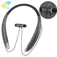 Wholesale work bluetooth headset - V8 Bluetooth Headphones Neckband Magnetic Sports Headset Wireless Bluetooth earphones Stereo Speaker for iPhone Samsung 5 hours working time