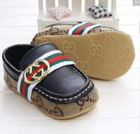 zapatos de niña primero caminante al por mayor-2019 Baby Boy Shoes Sneakers Otoño Sólido Unisex Cuna Zapatos Infantil PU Cuero Calzado Niño Mocasines Baby Girl First Walker Zapatos