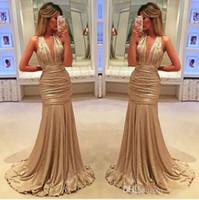 siyah kız zarif balo elbiseleri toptan satış-2018 seksi zarif uzun abiye giyim saten kumaş siyah kız batı ülke tarzı kadın elbise için altın balo resmi elbiseler mermaid