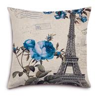coussins de tour eiffel achat en gros de-Coussin de coton-lin romantique Tour Eiffel Coussin de haute qualité Coussin d'oreiller européen