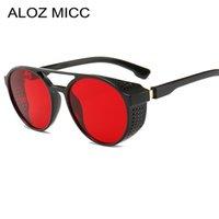 taraflı güneş gözlüğü toptan satış-ALOZ MICC 2019 Yeni Retro SteamPunk Güneş Kadınlar Marka Tasarımcısı Yan Mesh Yuvarlak Punk Erkekler Güneş Gözlüğü Kırmızı Gri Lens UV400 A645