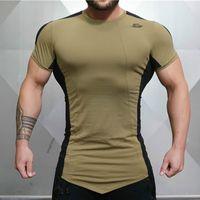 ajustado para hombre camisetas al por mayor-Camiseta ajustada para hombre Camiseta de manga corta Organización para el ejercicio físico Ingeniero físico Gimnasios para fitness Fitness empalme Camiseta de algodón