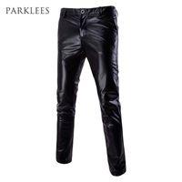 pantalones negros brillantes para hombre al por mayor-Venta al por mayor- Metallic Mens Skinny Pants Shiny Black Gold Silver Pantalones Discoteca Moda trajes para cantantes Bailarín Joggers masculinos XXL
