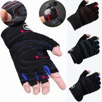 guantes de fitness mano al por mayor-Guantes de levantamiento de pesas de fitness medio dedo guantes de deporte guantes de mano envolturas largas GYM manos protector guantes de entrenamiento antideslizante hombres mujeres Y1892612