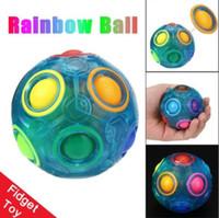 Wholesale Education Ball - Luminous Stress Reliever Magic Rainbow Ball Fun Cube Fidget Puzzle Education Toy Glow in dark ball KKA4840