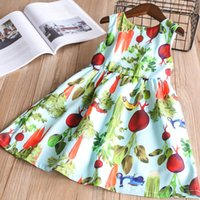 Wholesale Beach Braces - New Printed Vest Dress Garden Radish Sleeveless Vest Skirt Breathable Cool Cotton Fabric Spring Summer Dresses Braces Skirt 2-10T