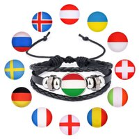 Wholesale handmade souvenirs - Handmade Bracelet Country Flag Leather Rope Beaded Wristband for World Cup Fans souvenir adjustable size lightweight LJJN4