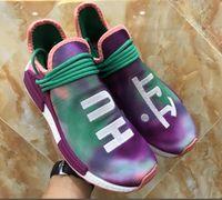 Wholesale flash camping - Hu Trail Holi Chalk Coral Flash Green Running Shoes Sneaker,Pharrell Williams Human Race Trail Holi ,Blank Canvas Holi 2018 Colorways
