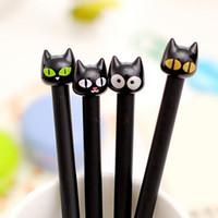 siyah kedi mektubu toptan satış-Sevimli Kawaii Siyah Kedi Jel Kalem Karikatür Plastik Jel Yazma Ofis Okul Malzemeleri Kore Kırtasiye 0392 Için Kalemler