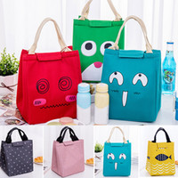 Wholesale simple drawings online - Insulated Lunch Boxes Bag Flamingo Bear Fish Cartoon Drawing Portable Lunch Bag Picnic Pouch Baskets insulated bags Style WX9