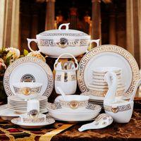 ingrosso porcellana di posate del cucchiaio della forcella della lama-60 pz / set europeo posate set in ceramica osso domestico cina ciotola piatto set regalo di nozze