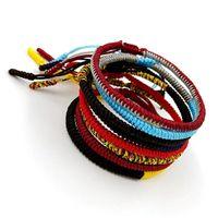 Wholesale Lucky Bracelets For Men - Dropshipping Original Multi Color Tibetan Buddhist Good Lucky Charm Tibetan Bracelets & Bangles For Women Men Handmade Knots Rope Bracelet