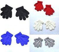 doigts multicolores gants chauds achat en gros de-Enfants Hiver Chaud Mitaines Cinq Gants Fille Garçon Multicolore Pure Tricoté Doigt Gant 6 Couleurs Soutien FBA Drop Shipping H923Q