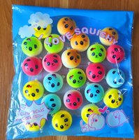 Wholesale Top Chain Straps - 20Pcs Top Color Panda Squishy Charms Soft Buns Cell Phone Key Chain Bread Straps
