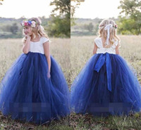 Wholesale princess cape pink - Cute Princess White Navy Blue Flower Girls Dresses 2018 Bateau Neck Cape Sleeve Puffy Ball Gown Girls Pageant Gown First Communion Gowns