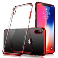 telefone celular anti-choque venda por atacado-Chapeamento macio tpu case para iphone xs max 8 7 plus samsung note 9 s8 s9 anti-choque gel telefone celular protetor