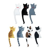 imán de nevera gato al por mayor-Frigoríficos Etiqueta Magnética Pothooks Encantador Gancho de Gato de Dibujos Animados Conveniente Novedad Imanes de Nevera Multi Color de Venta Caliente 4 5yk X