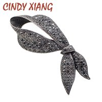 Wholesale elegant winter coats for women - CINDY XIANG Cute Rhinestone Black Bow Brooches for Women Fashion Bowknot Brooch Pin Elegant Party Jewelry Winter Coat Broches