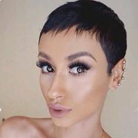 meilleure frange de cheveux humains achat en gros de-Pas cher courte Pixie Cut Glueless Lace Front Perruques de cheveux humains avec Bangs pour les Afro-Américains Best Hair Brésilienne Perruques Nouvelle arrivée