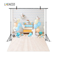 Wholesale canvas scenic paintings - Laeacco Chevrons Wall Balloons 1st Birthday Cake Baby Photography Backgrounds Customized Photographic Backdrops For Photo Studio