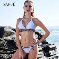 14856666d0 gros bikini perles pendentif frange style ethnique femmes maillot de bain  maillot de bain pièce de remorquage de maillot de bain solide Halter  Brazilain ...