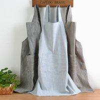kadınlar için önlükler toptan satış-Ev Tekstili Kısa Önlükler Kadınlar Için Düz Basit Delantal Cocina Temizleme Halter Çalışma Tablier Mutfak Önlüğü Pişirme Önlükleri
