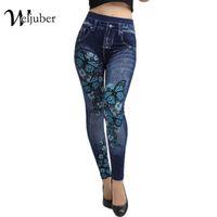 Wholesale ladies denim leggings - Weljuber Women Leggings Autumn Jeans Leggings Slim Mock Pocket Woman Print Jeggings Ladies Denim Skinny Trousers