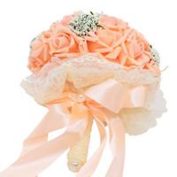 розовые розы оптовых-Букет из искусственного шелка Букет из пены и роз Свадебный букет Свадебный букет для подружки невесты Кружева Свадебные цветы розовый цвет слоновой кости