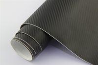 vinyl-aufkleber-design für autos großhandel-1.52 * 28m Autokörperseiten-Aufkleberentwurf Luftblasenfreies Material Schwarzes 3d Kohlenstofffaservinyl