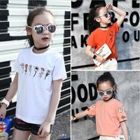 Wholesale Flower Girl Tee - Summer fashion girl short sleeve embroidery T shirt girl cotton Tees t-shirt flower pattern top 3 Colors