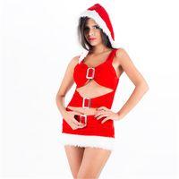 vestido rojo con capucha al por mayor-Erotic Red Xmas Fancy Dresses Hot Ruffled Metal Plush Hollow Out Navidad Ropa Sexy Hoodies Trajes de Santa Outfit