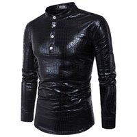 Wholesale men long sleeve shiny shirt - Helisopus fashion punk men's shirts elastic Metallic Shiny Shirt long sleeve Slim Fit Moto&Biker style PVC Leather shirts men