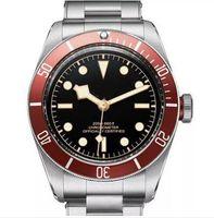 relojes de marca de acero inoxidable al por mayor-Tudorrr Brand Mens Watch Movimiento automático de acero inoxidable mecánico bisel rojo Dial negro ROTOR MONTRES sólido cierre Geneve relojes reloj