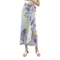 envolver una pieza al por mayor-12 Colores Boho Summer Beach Wrap Skirt Mujeres Gasa Asimétrico Side Split Lace Up Bohemio One Piece Skirts H7