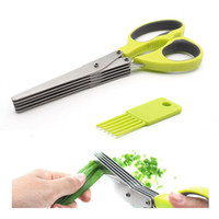 Wholesale Knife Sushi Steel - Multi-functional 5 Layers Scissors Sushi Shredded Scallion Cut Herb Spices Chili Scissors - Stainless Steel Kitchen Knives Cooking Tools